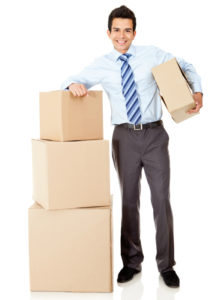 office man with moving boxes