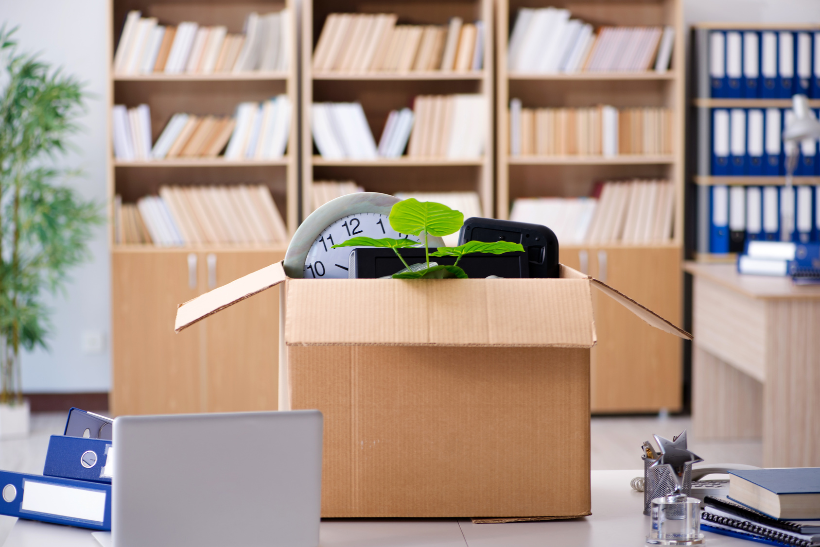Box-of-Office-Items-on-Desk