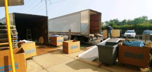Unloading Moving Boxes from Truck Chicago Office Movers
