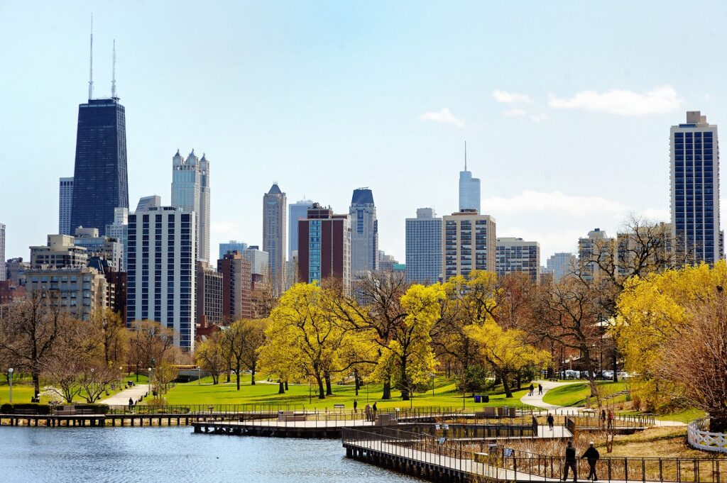Chicago skyline viewed from Lincoln Park